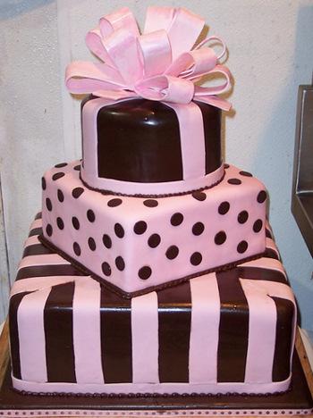 Chocolate Brown and Pink Wedding Cake